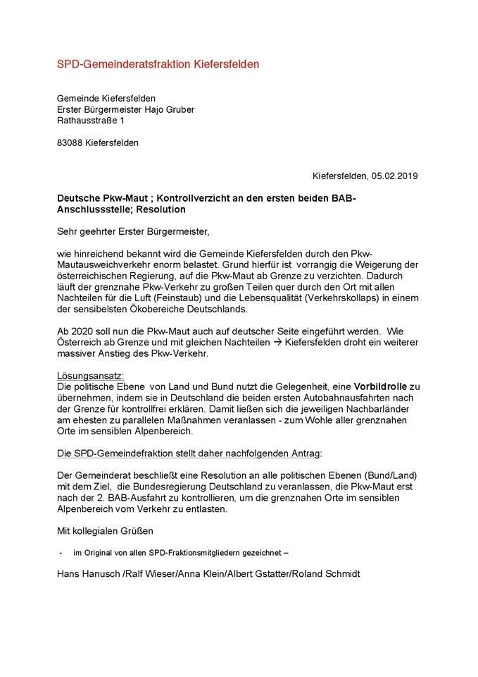 Deutsche PKW-Maut – Antrag der SPD-Fraktion